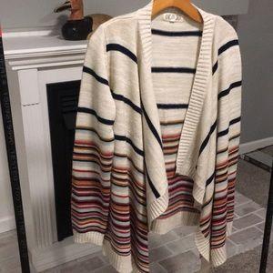 Sz M Pink Rose multi color stripe sweater